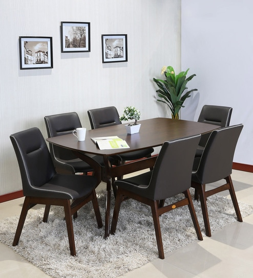 Coventry Six Seater Dining Table Set In Brown Colour With Combination Of Dark Chair By Parin