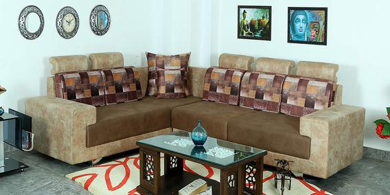 Buy Cody 6 Seater Corner Sofa In Cream Brown Colour By Athena Crafts Online Modern Corner Sofas Sectional Sofas Furniture Pepperfry Product