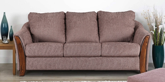 Buy Coleman Fabric Three Seater Sofa In Brown Colour By Hometown