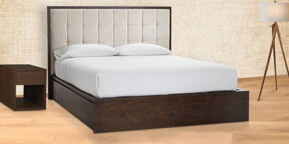 Buy contemporary queen platform bed with tufted headboard - Modern queen bed with storage ...