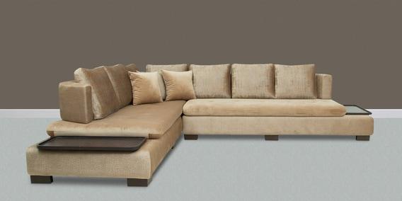 Buy Winnipeg L Shaped Sofa with Velvet Fabric in Brown ...