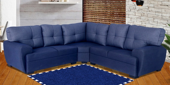 pretty nice 37c1f 60bf2 Cozy Six Seater Sectional Sofa with Corner in Blue Colour By Muebles Casa