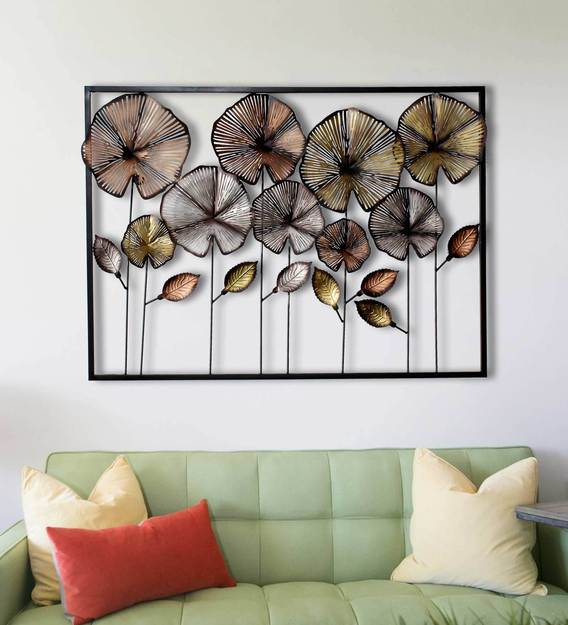 Buy Wrought Iron Decorative Frame In Multicolor Wall Art By Craftter Online  - Floral Metal Art - Metal Wall Art - Home Decor - Pepperfry Product