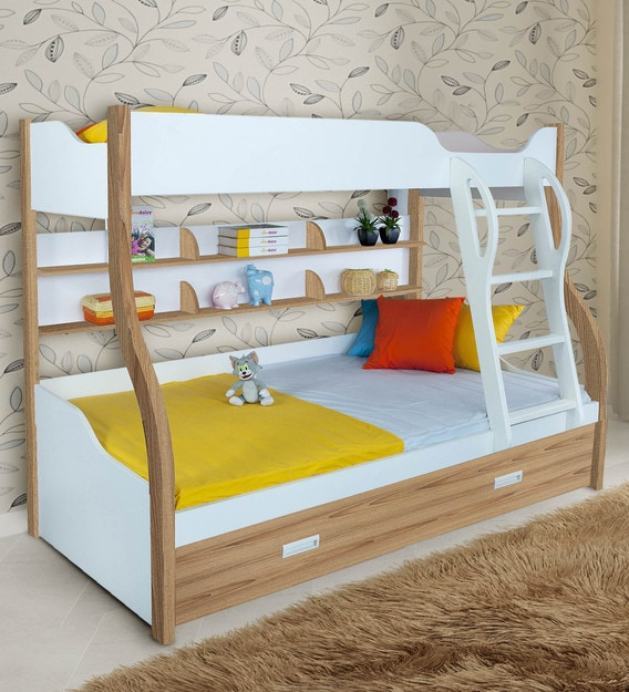 Buy Columbia Bunk Bed With Trundle In Oak By Alex Daisy Online Trundle Bunk Beds Bunk Beds Kids Furniture Pepperfry Product
