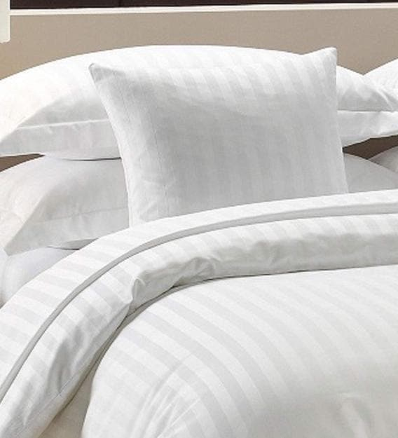 White Stripe Cotton Double Bed, What Size Is A Double Bed Cover