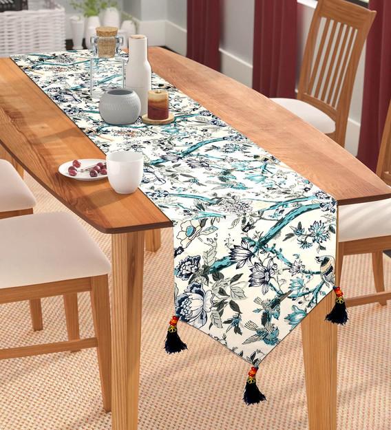 Jaipuri Fl Pattern Blue Cotton, Dining Room Table Runners
