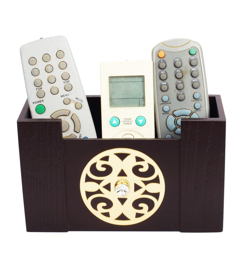 Cocktail Wooden Brown New Remote Organizer Stand Remote Box