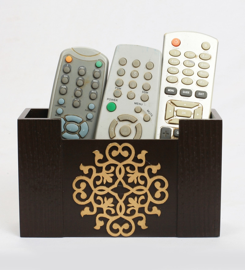 Cocktail Wooden Brown Remote Organizer
