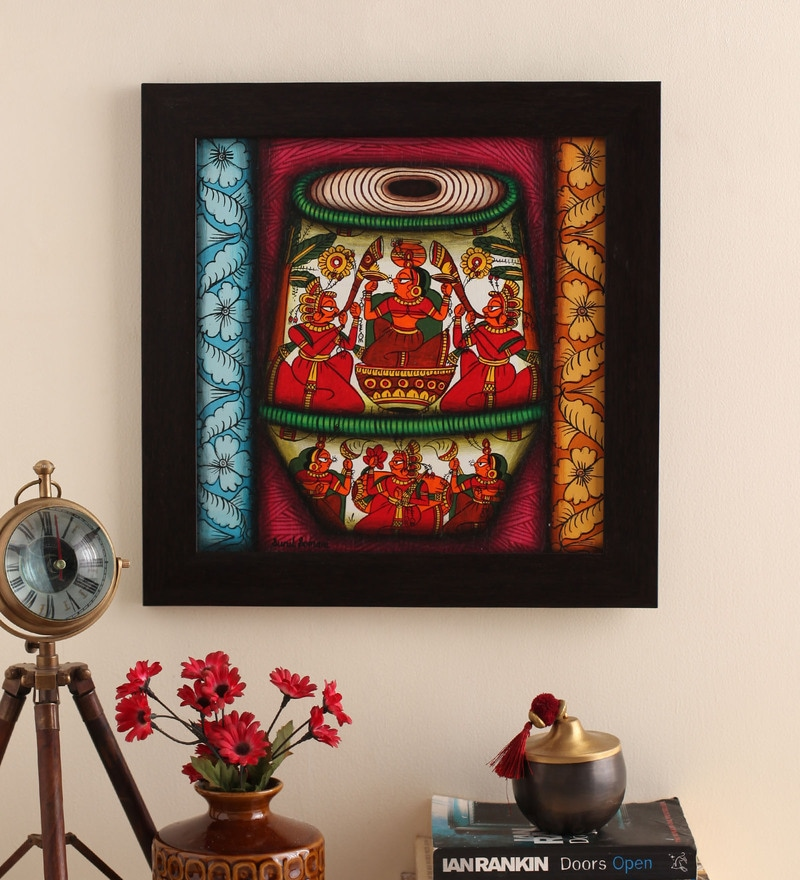 Canvas 16 x 2 x 16 Inch Tabla Style Handmade Framed Rajasthani Style Phad Painting by Cocovey