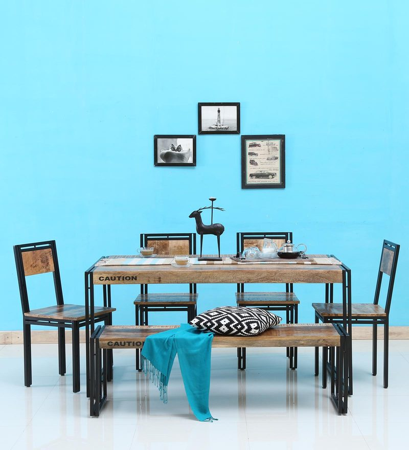 Coleman Solid Wood Six Seater Dining Set With Bench By Bohemiana