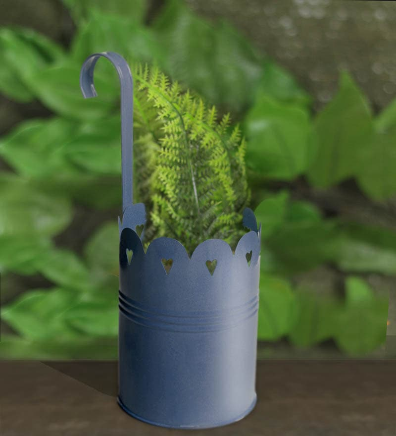 Blue Metal Hanging Planter by Color Palette