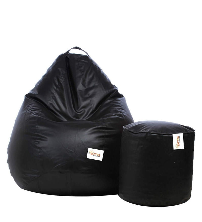 Combo Classic XXL Bean Bag & Round Footstool with Beans in Black Colour by Sattva