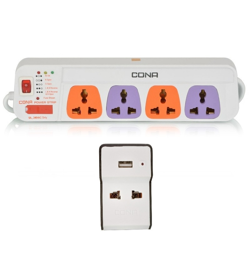 Cona White Power Strip with USB Charger Multiplug