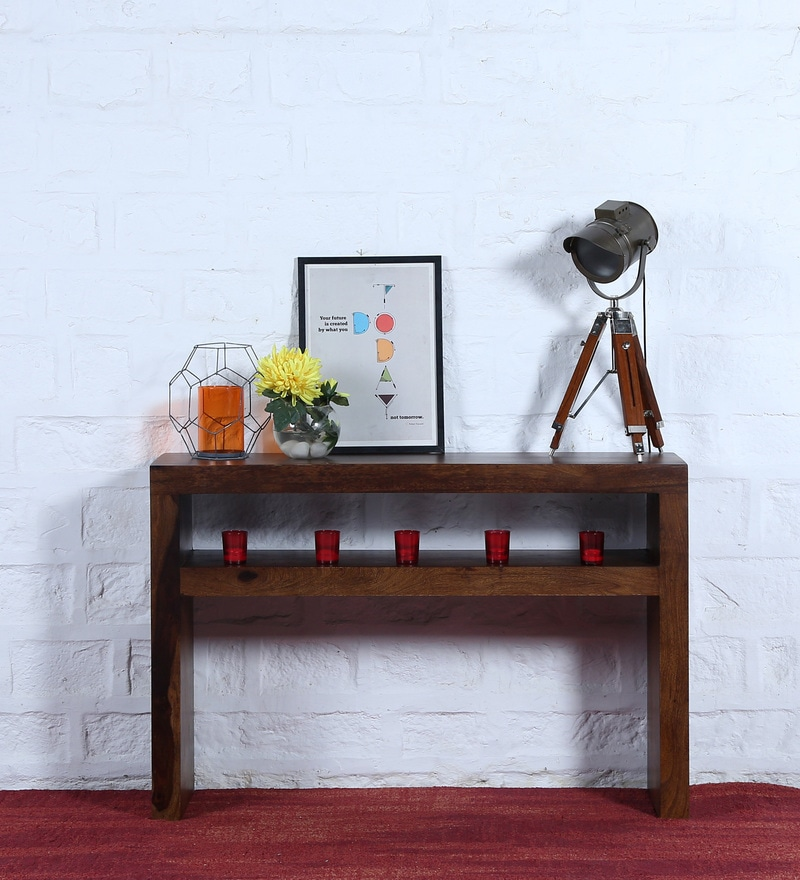 Acropolis Console Table in Provincial Teak Finish by Woodsworth