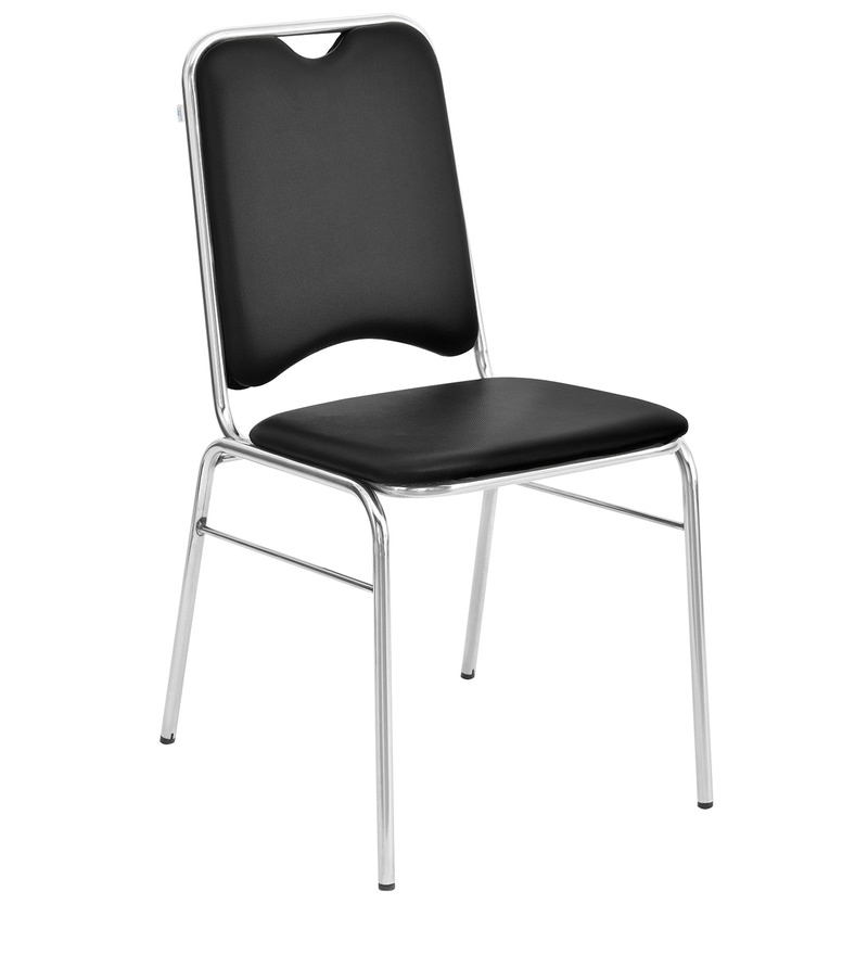 Contract Metal Chair In Soft Pvc Without Arms In Black Colour By Nilkamal