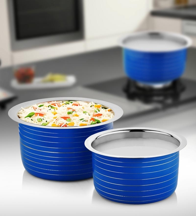 Stainless Steel Induction Friendly Blue Assorted Patilas - Set of 2 by Cookaid Elite
