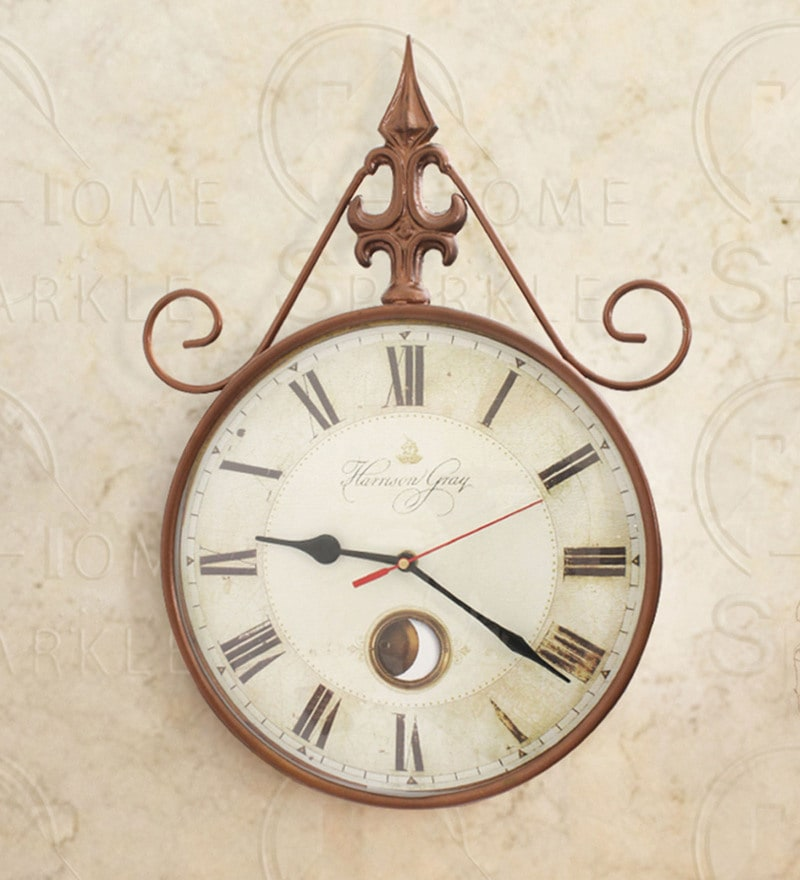 Copper Mild Steel 11 x 2.5 x 15 Inch Wall Clock by Home Sparkle