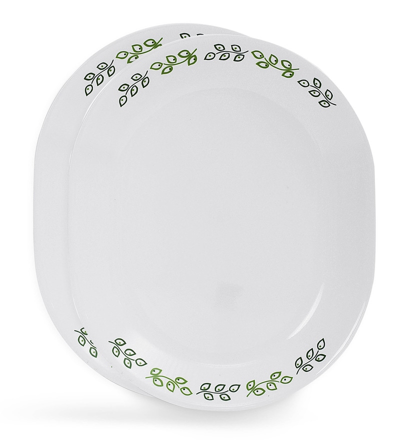 Corelle India Impressions Neo Leaf 2 Pcs Oval Serving Platter