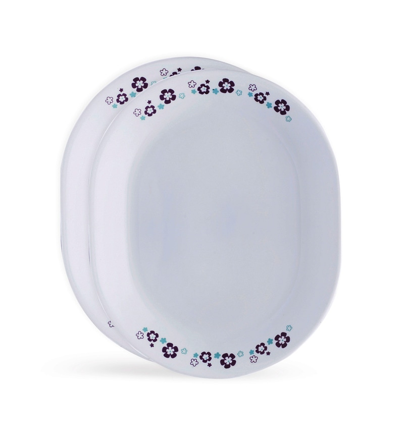 Corelle Livingware Florets White and Purple Vitrelle Glass Oval Serving Platters Set