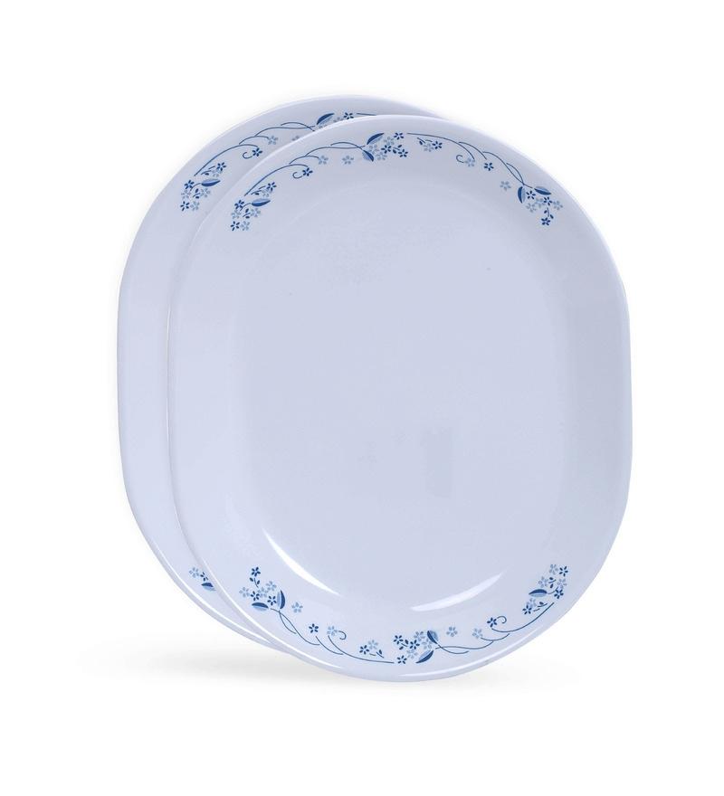 Corelle Livingware Provincial Blue White & Blue Vitrelle Glass Oval Serving Platters Set