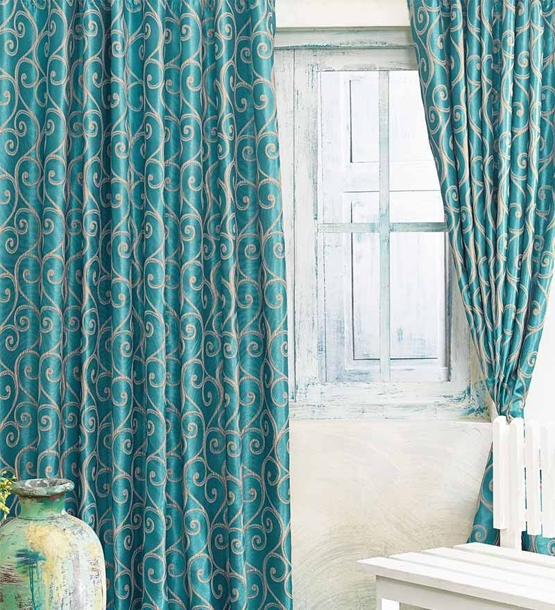 Blue Jacquard Abstract Door Curtain- Set of 2 by Cortina