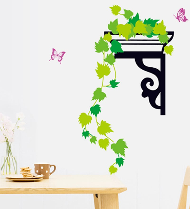 PVC Vinyl Creeper Leaves & Butterfly Theme Wall Sticker by Cortina