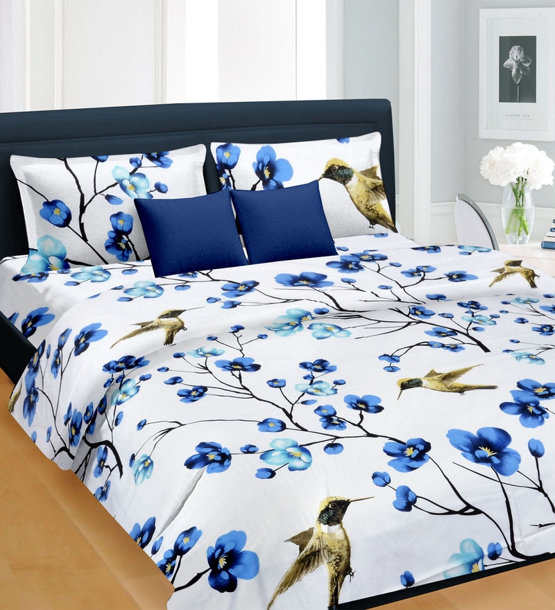 99984938d253 Buy White & Blue Satin Bed Sheet - Set of 3 by Cortina Online ...