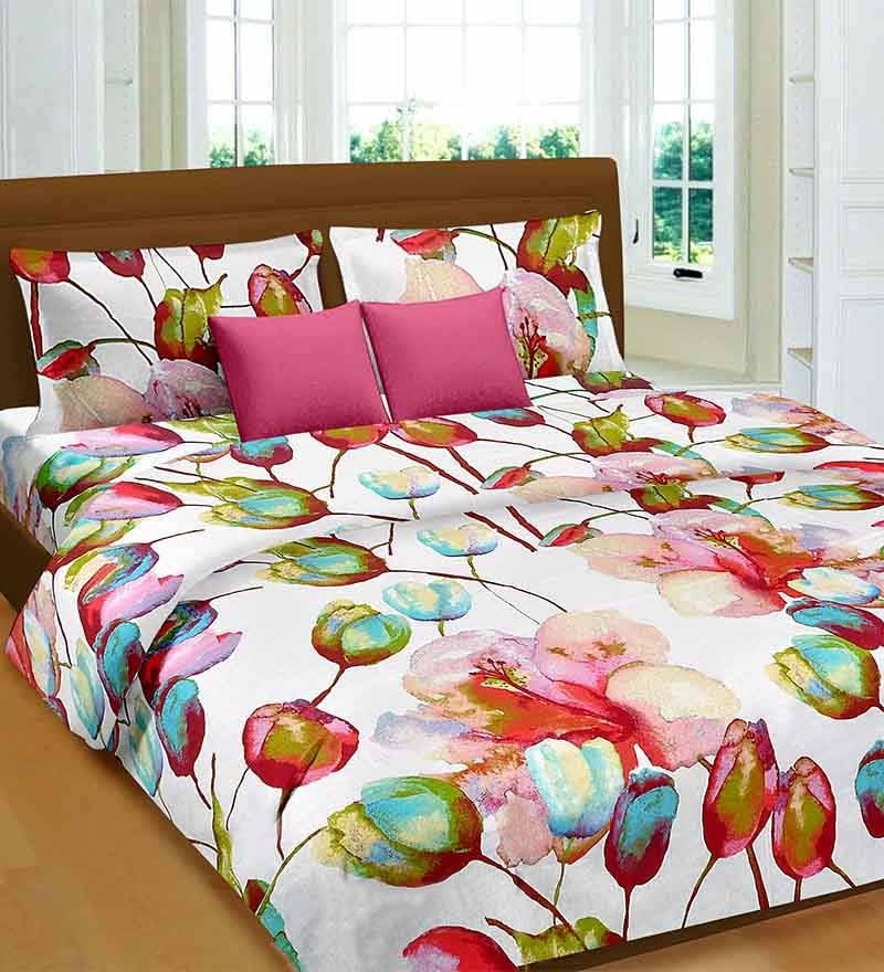 Premium Pink Cotton Tulip & Lilie Bed Sheet - Set of 3 by Cortina