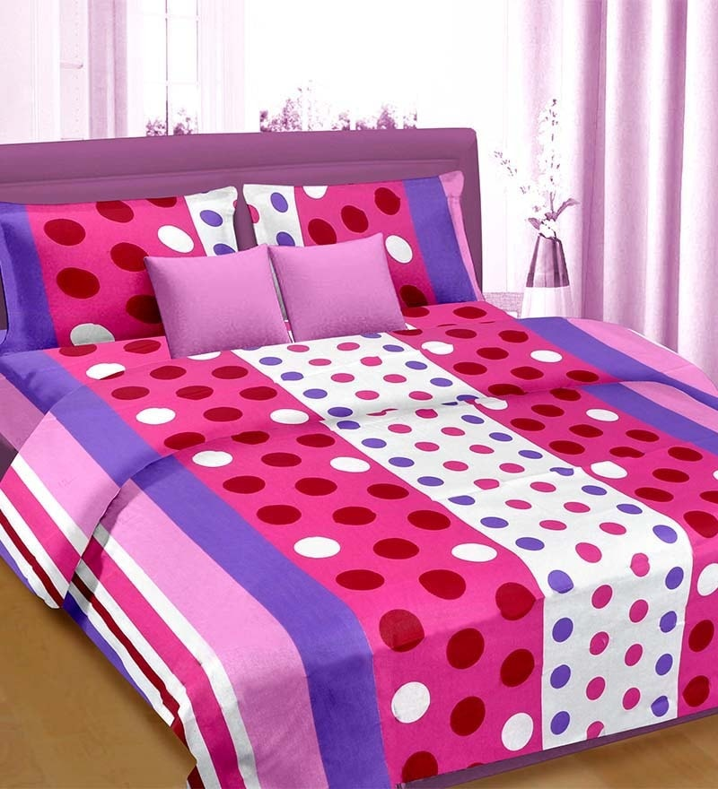 Premium Polka Dots Multicolour 100% Cotton Double Bed Sheet (with Pillow Covers) - by Cortina