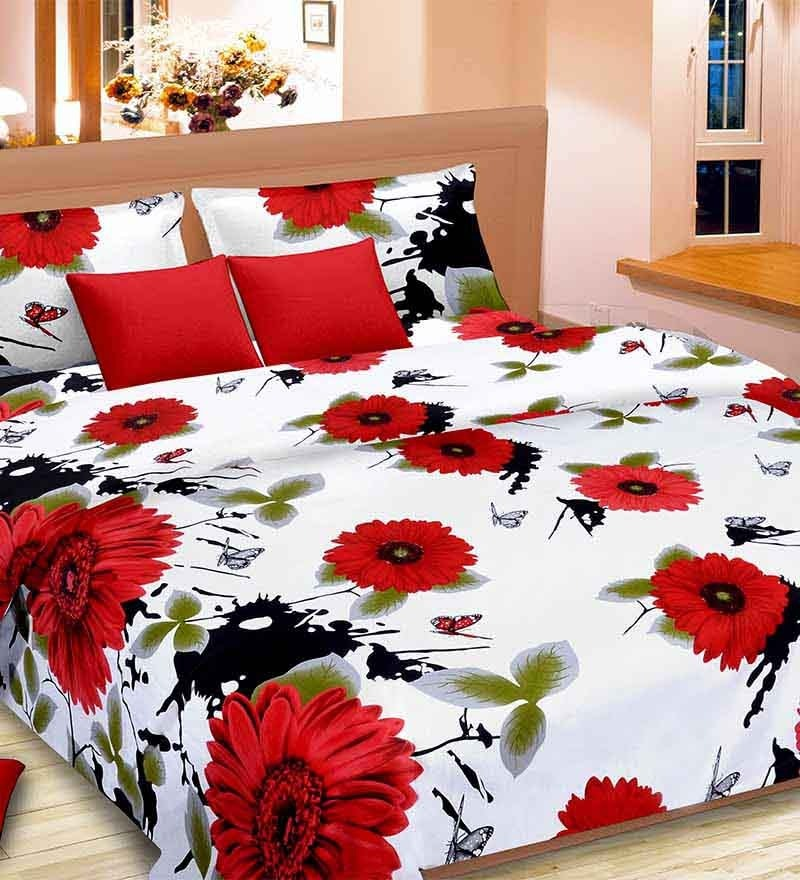 Premium Red & White Satin Bed Sheet - Set of 3 by Cortina