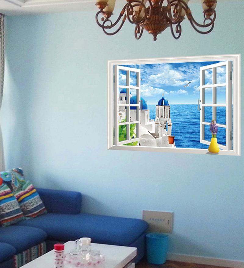 Buy Vinyl Santorini View Window Theme Wall Sticker By