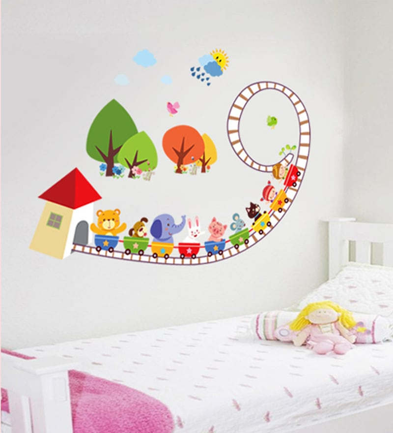 Vinyl Train Full of Animals Theme Wall Sticker by Cortina