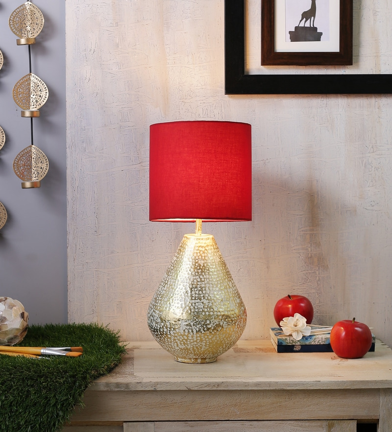 Iris Table Lamp In Gold Base And Red Shade by Courtyard