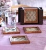 Cocktail Brown Wooden Coaster with Box - Set of 6