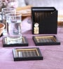 Cocktail Mesh Black Wooden Coaster with Box - Set of 6