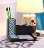 Cocktail Wooden Blue Aztec Pen Stand
