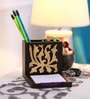 Cocktail Wooden Brown Flower Pen Stand