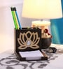 Cocktail Wooden Brown Lotus Pen Stand