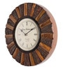 Brown Wooden 12 Inch Round Sugarcane Antique Wall Clock by Cocovey