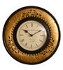Cocovey Golden Brass & Wood 12 Inch Round Ethnic Wall Clock