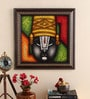 Canvas 16 x 2 x 16 Inch Tripati Lord Handmade Framed Rajasthani Style Phad Painting by Cocovey