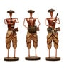 Cocovey Multicolour Metal Dhoti Musician Figurine - Set of 3