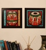 Wooden 32 x 2 x 32 Inch Tabla Style Handmade Rajasthani Phad Collage Framed Painting by Cocovey