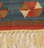 Multicolour Wool & Cotton 24 x 36 Inch Nikunj Hand Woven Dhurrie by Contrast Living