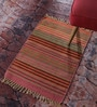 Contrast Living Multicolour Cotton 48 x 72 Inch Geometric Stripe Shuttle Area Rug