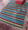 Contrast Living Multicolour Jute 72 x 48 Inch Printed Hand-Woven Dhurrie