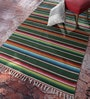 Contrast Living Multicolour Wool & Cotton 108 x 72 Inch Kilim Ethnic Area Rug