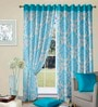 Cortina Multicolour Polyester Damask Window Curtain- Set of 2