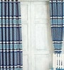 Blue Jacquard Premium Leopard Print Door Curtain- Set of 2 by Cortina