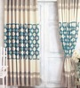 Blue Jacquard Premium Geometric Door Curtain- Set of 2 by Cortina